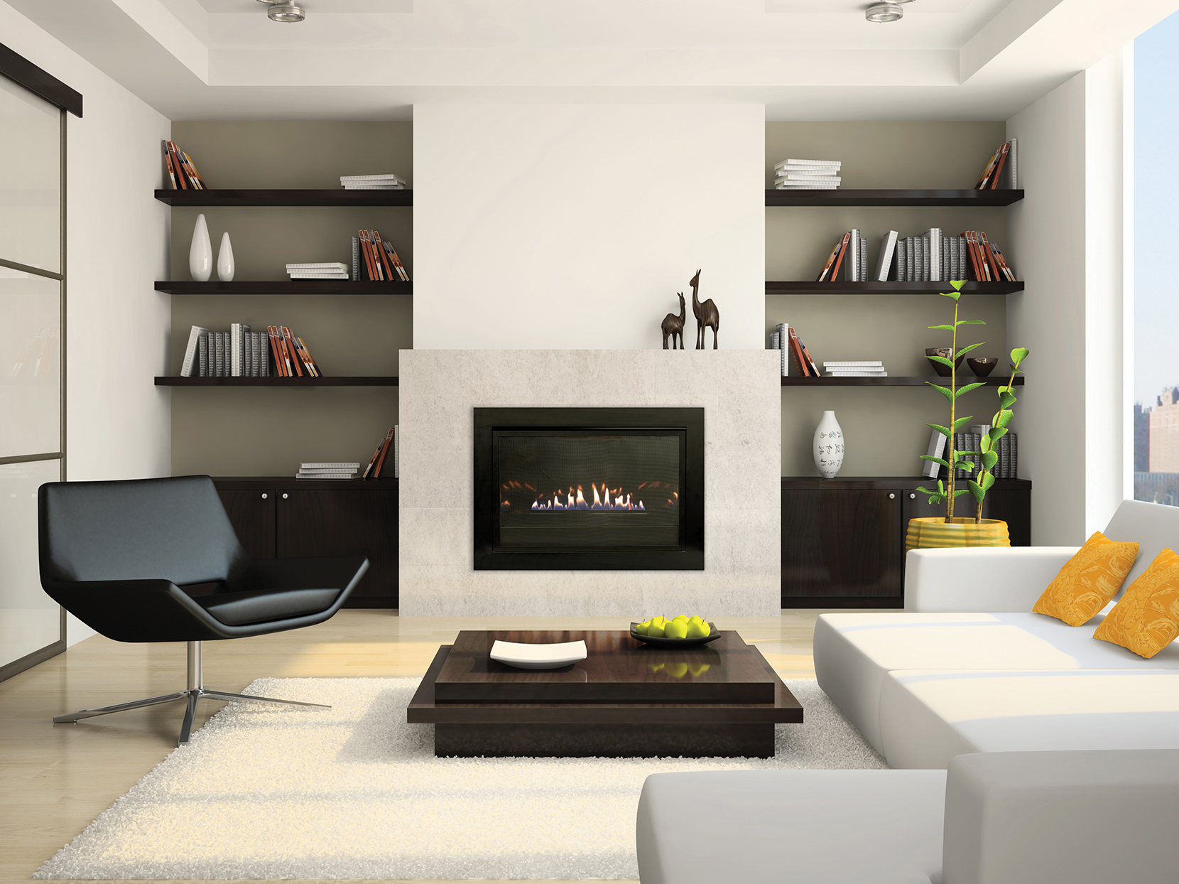 Living-room with fireplace 3D rendering